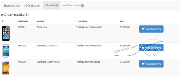PHP Workshop ระบบตะกร้าสั่งซื้อสินค้า (Shopping Cart)