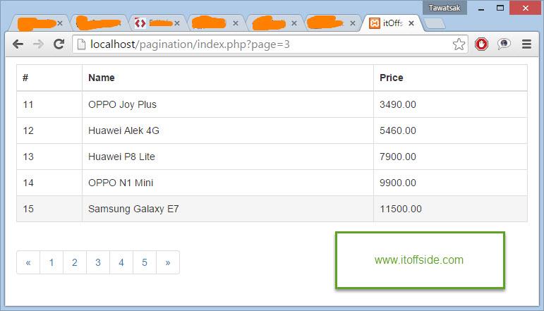 PHP MySQL Pagination แบ่งหน้าการแสดงผลด้วย PHP Mysqli กรณีที่มีจำนวนแถวข้อมูลมาก